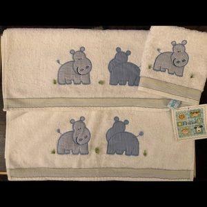 Baby Boys Frolics Boutique Towel Set, Blue Hippo